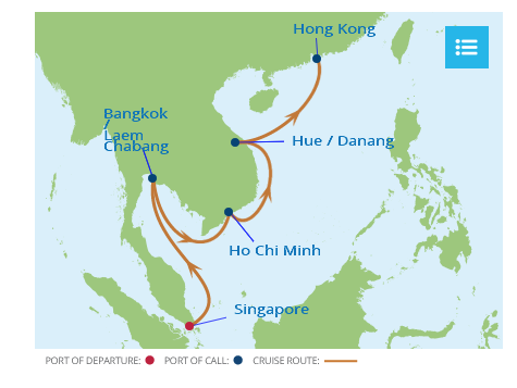 asia itinerary map